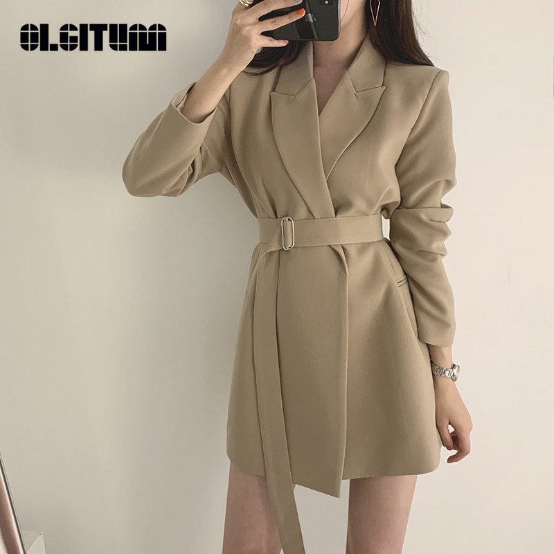 2020 Chic Spring Women Vintage Solid Casual Long Sleeve Blazer Sashes Elegant Korean Sashes Decorated Ladies Office Coat Blazer