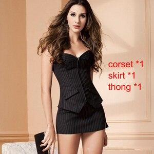 Image 2 - Sexy Korsett Kleid mit Zipper Schwarz streifen Form Körper Schlank Bustiers Anzug Overbust Kostüm Burlesque Korsetts Sexy Dessous Plus