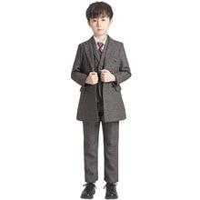 Свадебный костюм для мальчиков с цветочным принтом, нарядное платье-пиджак брюки с жилеткой, костюм, смокинг для мальчиков, Детский костюм