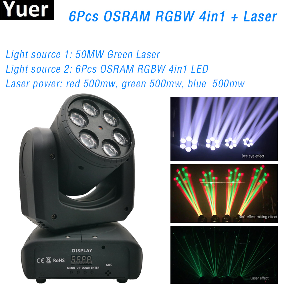 2020 New 6Pcs OSRAM RGBW 4in1 LED Moving Head Light 50MW Green Laser Light Unlimited Rotating DJ Disco Stage Strobe Effect Light