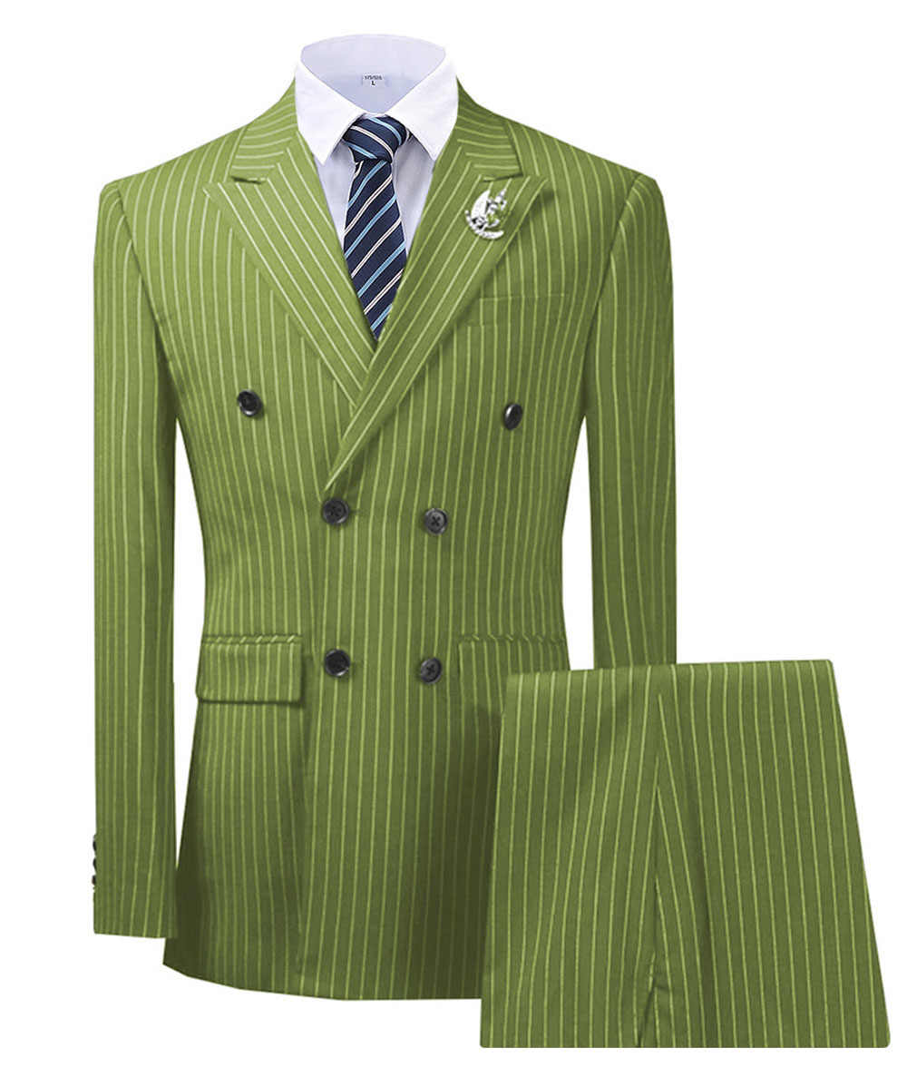 Olive Green Men's Suit 2 Pieces Pinstripe Notched Lapel Tuxedos Slim Fit Groomman For Wedding New Burgundy,BLACK(blazer+pants)