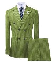 Оливковый зеленый мужской костюм из 2 предметов в тонкую полоску, смокинги с отворотами, приталенный смокинг Groomman для свадьбы, новый бордовы...