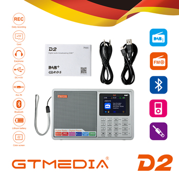 GTMEDIA D2 2.4inch Bluetooth Battery Powered FM DAB Portable Radio Multi Band LCD Display Stereo Support Micro TF Card