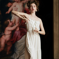 Летняя одежда для сна, женская элегантная Ночная рубашка на бретельках, ночная рубашка высокого качества, романтичное платье на бретелях, 30%...