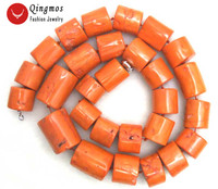 Qingmos Natural 30 35mm Orange Coral Coral Necklace for Women with Thick Slice Genuine Graduate Coral Necklace 35 Long Necklace