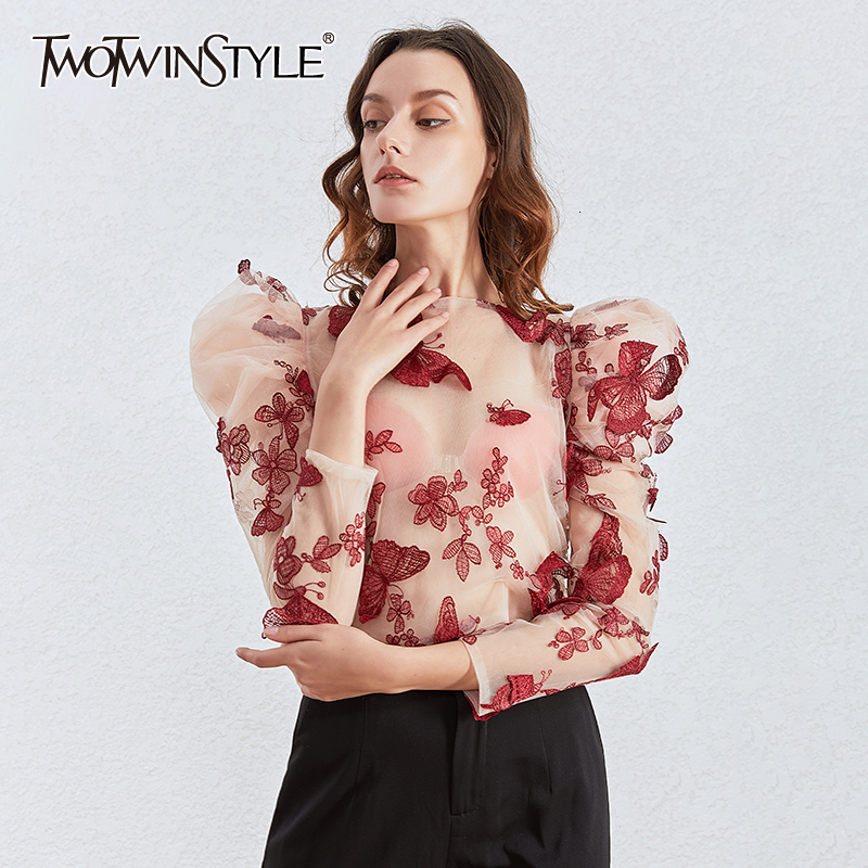 TWOTWINSTYLE Embroidery Butterfly Mesh Shirts Women O Neck Puff Sleeve Top Perspective Blouses Female Fashion Clothing 2020 Tide
