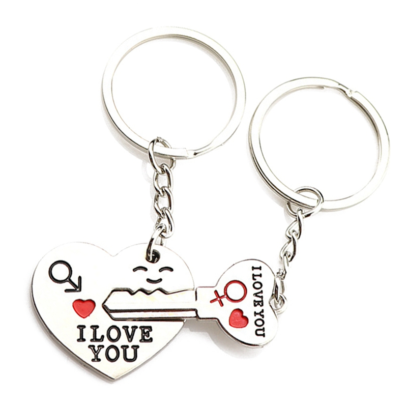 Heart-shaped Smiley Couple Keychain Lock And Key Lovers Key Chain Key Bag Ornament Wonderful Gift For Valentine's Day Dropship