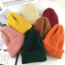 Новинка года, модные детские зимние шапки, однотонные вязанные шапки-бобы для маленьких девочек и мальчиков, теплая зимняя шапка