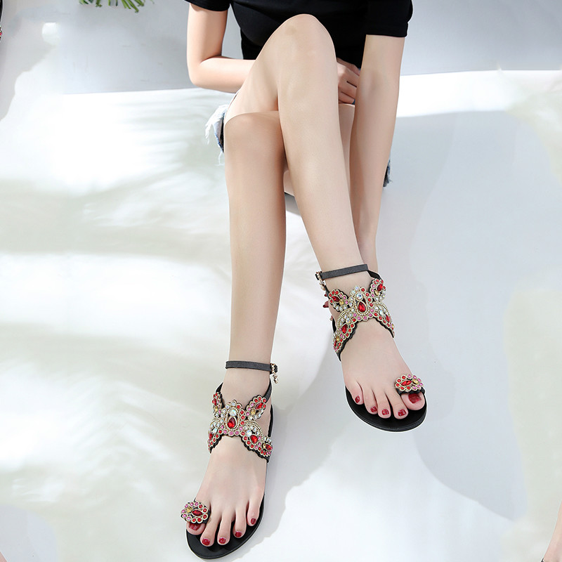 Summer Bling Bling Colorful Rhinestone Butterfly Woman Sandals Crystal Flats Flip Flops Female Single Shoes Party Beach