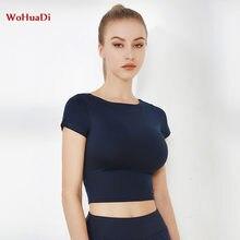 Wohuadi футболка для спортзала или йоги короткий рукав укороченный