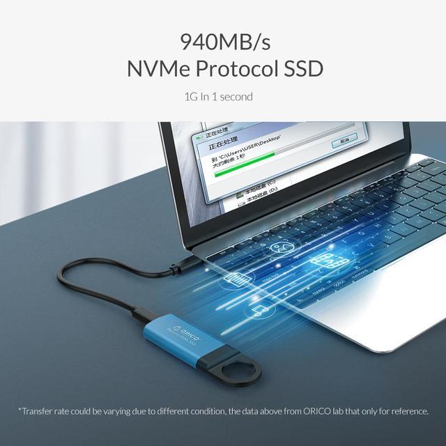 ORICO Mini External SSD M2 NVME Hard Drive 1TB 128GB 512GB M.2 NVME Portable SSD USB-C Type- C 940MB/s Solid State Drive GV100 3