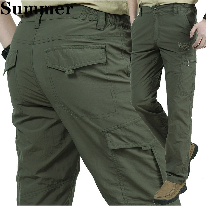 Men's Thin Pants Cargo Work Army Breathable Waterproof Quick Dry Men Pants Casual Summer Trousers Military Style Tactical Pants