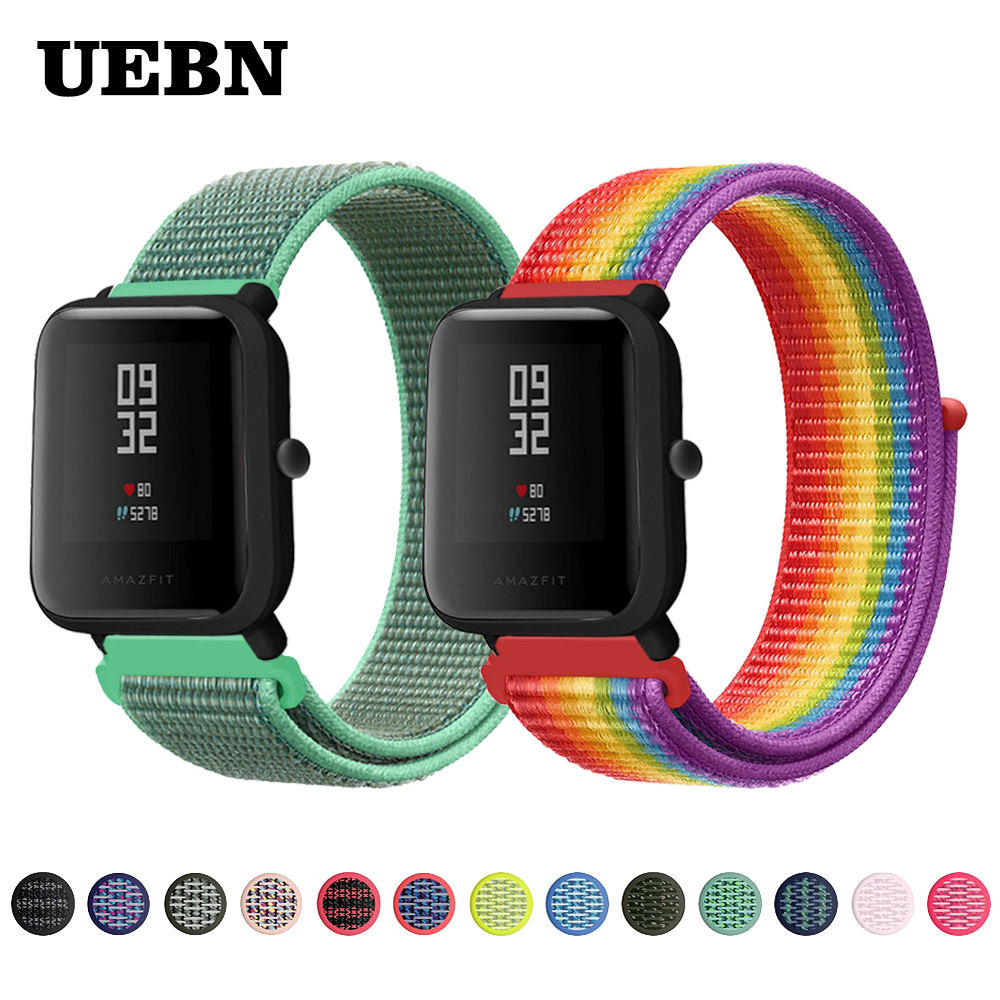 UEBN 20mm 22mm Nylon Sport Loop Strap Replacement Band For Xiaomi Huami Strap Amazfit Bip GTS/GTR 42mm 47mm Watchbands