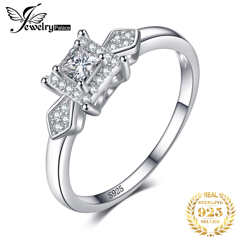 JPalace Princess Cut CZ Engagement Ring 925 Sterling Silver Rings For Women Anniversary Ring Wedding Rings Silver 925 Jewelry