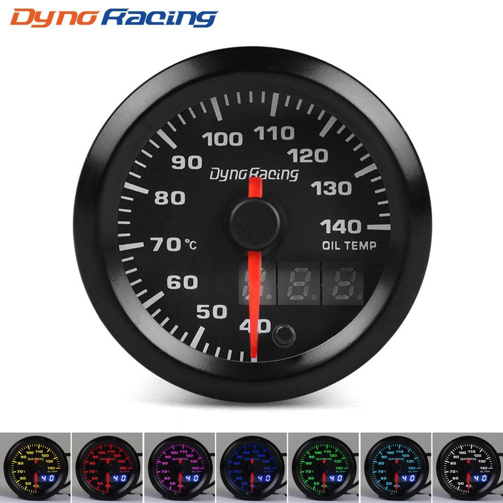 Dynoracing-52mm-Dual-Display-Oil-temp-Gauge-7-colors-Led-40-140-Celsius-Oil-temp-meter