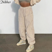 Nibber Casual Ribbed Loose Dance Harem Pants Women Street Activity High Waist Sweatpants Overalls Corduroy Sport Slacks Trousers