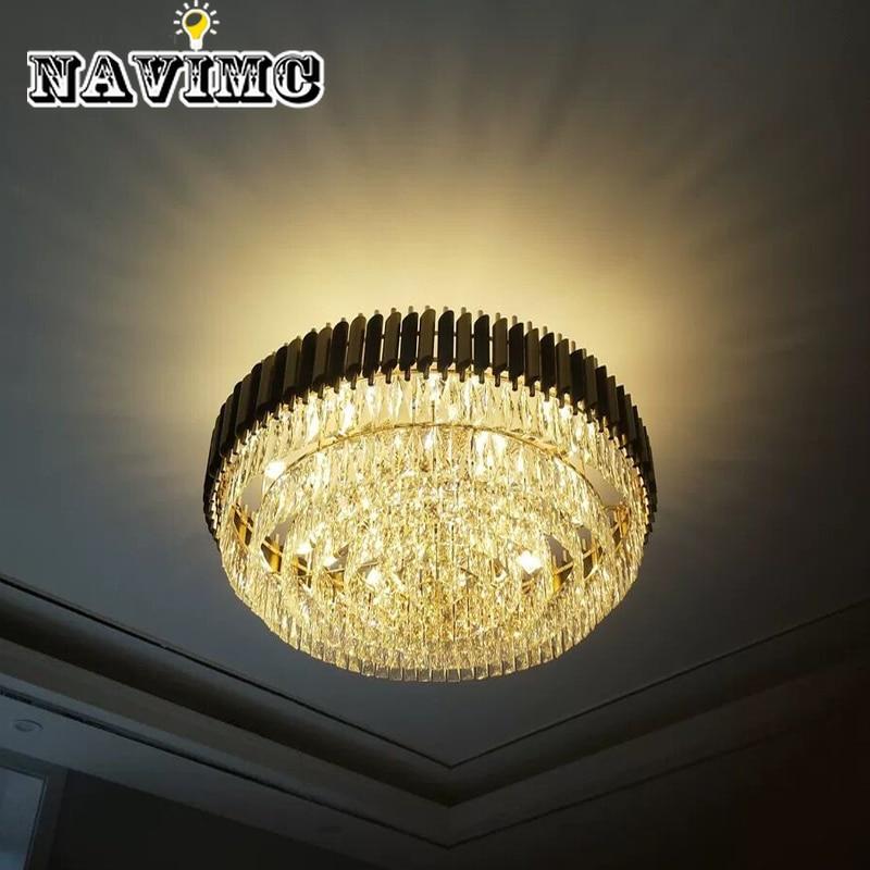 Modern Black Round K9 Crystal Stainless Steel Ceiling Light For Living Room Decorating Lighting Fixture in Ceiling Lights from Lights Lighting