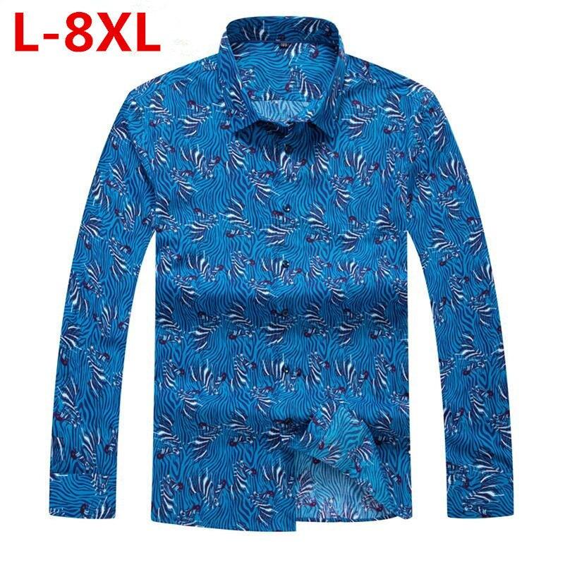 New  Plus Size 8XL 7XL 6XL  Men's Shirts Flower Printed Man Casual Loose Shirt Fashion Classic Men Dress Shirt Men's Long Sleeve