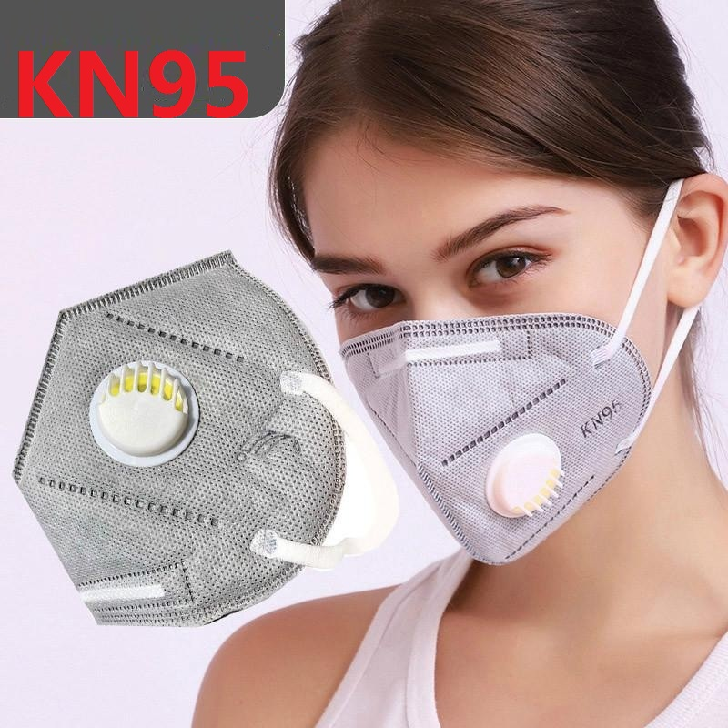 In Stock! KN95 FFP2 Mask 6 Layers Filter With Breathing Valve Anti Dust PM2.5 Mouth Masks Anti Fog Masks Protection 24 Hour Ship