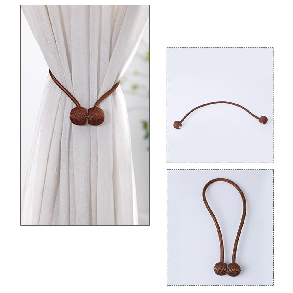 1 Pair Magnetic Curtain Tieback Braided Spherical Chain Buckle Drapery Holdback Clip Holders Curtain Holder Home Decoration