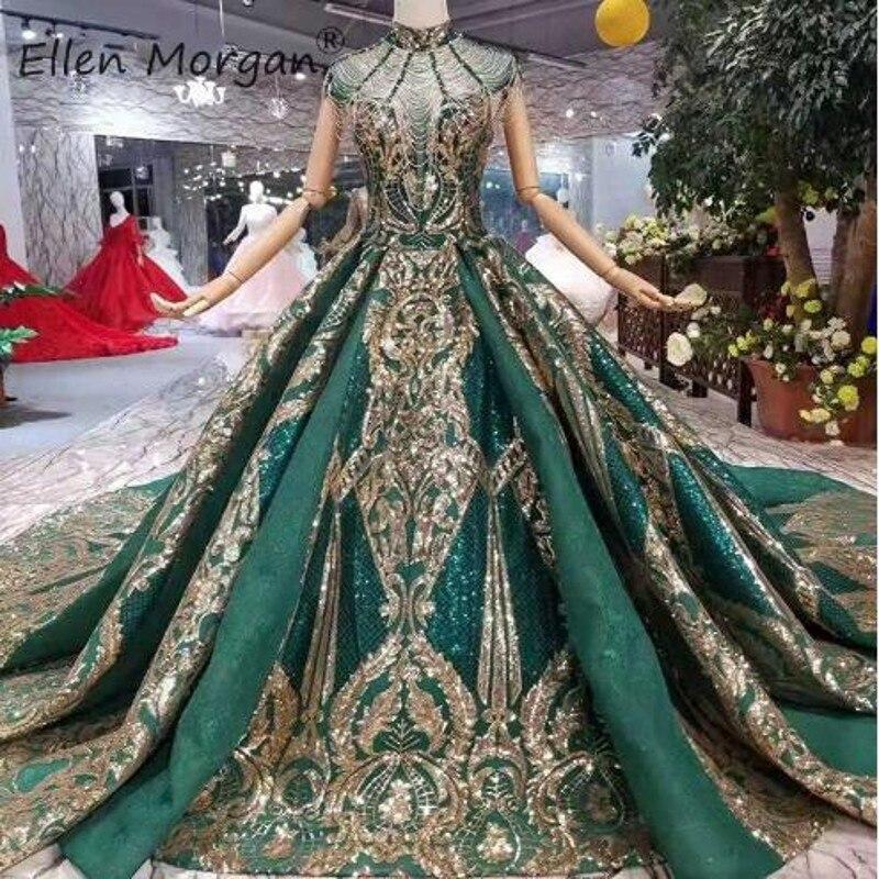 Arábia saudita Dubai Verde Escuro Vestidos de Casamento 2019 New Gold Luxury Lace Beads Elegant Alta Neck Lantejoulas Bola de Noiva Muçulmana vestido