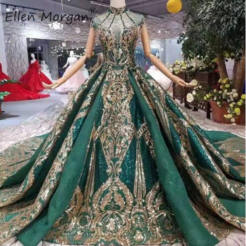 Dubai Saudi Arabian Dark Green Wedding Dresses 2019 New Luxury Gold Lace Beads Elegant High Neck Sequins Muslim Bride Ball Gown