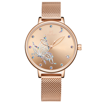NAVIFORCE Luxury Crystal Watch Women Top Brand Rose Gold Steel Mesh Ladies Wrist Watches Bracelet Girl Clock Relogio Feminino 11