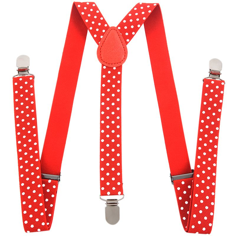 Red & White Polka Dot - Funky Trendy Unisex Suspender Braces One Size Fits All
