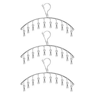 Practical Boutique 3 Pack Stainless Steel Laundry Drying Rack Clothes Hanger with 10 Clips For Drying Socks Drying Towels Diaper|Drying Racks| |  -