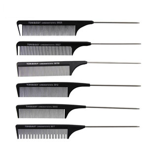 Image 2 - 1 Pc New Professional Black Hard Carbon Cutting Comb Heat Resistant Salon Hair Trimmer Brushes Metal Pin Tail Antistatic Comb
