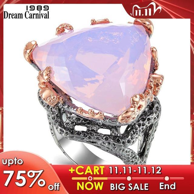 دريم كرنفال 1989 خواتم قوطية جديدة للسيدات مثلث راديان مقصوصة الزركونيوم الوردي مجوهرات أنيقة مبهرة حفلة يجب أن يكون WA11691