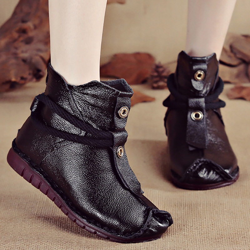 Women's Boots Genuine Leather Zipper Comfortable Ankle Boots For Women Rubber Solid Non Slip Winter Shoes Women Plush 16