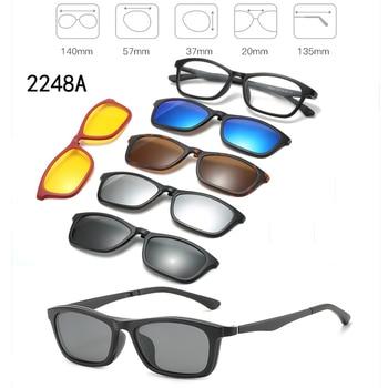 5 In 1 Custom Men Women Polarized Optical Magnetic Sunglasses Clip Magnet Clip on Sunglasses Polaroid Clip on Sun Glasses