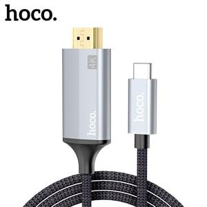 Image 1 - HOCO USB C HDMI תואם כבל סוג C כדי HDMI מתאם עבור Macbook סמסונג מקרן HDMI תואם כדי סוג C כבל