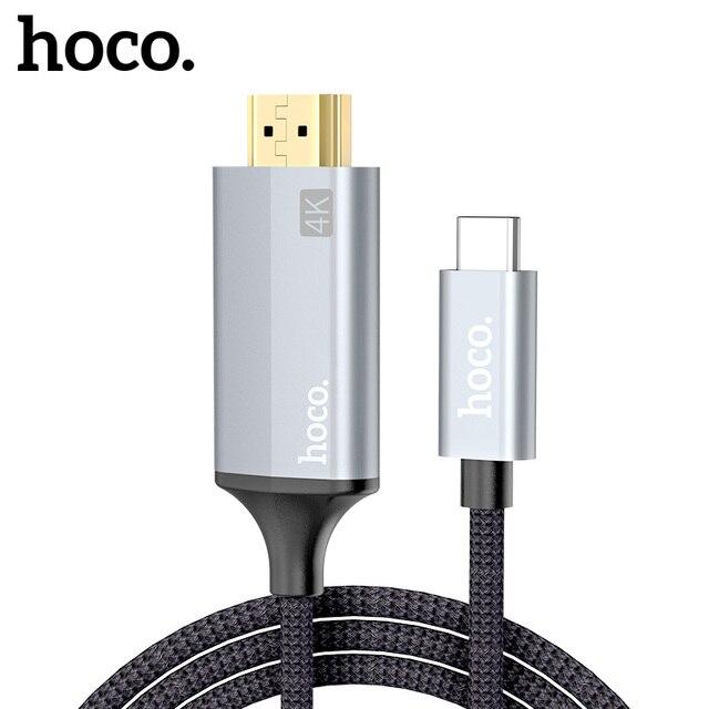 HOCO USB C HDMI תואם כבל סוג C כדי HDMI מתאם עבור Macbook סמסונג מקרן HDMI תואם כדי סוג C כבל