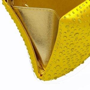 Image 4 - 부티크 드 FGG 우아한 여성 노란색 저녁 지갑과 핸드백 웨딩 파티 크리스탈 클러치 백 라인 석 가방