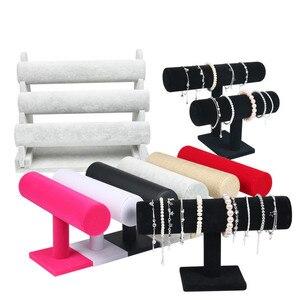 Image 1 - 1pcsคุณภาพสูงVINTAGE PUหนัง/กำมะหยี่สร้อยข้อมือนาฬิกาเครื่องประดับT Bar Rack Organizer Hardจอแสดงผลstand Holder