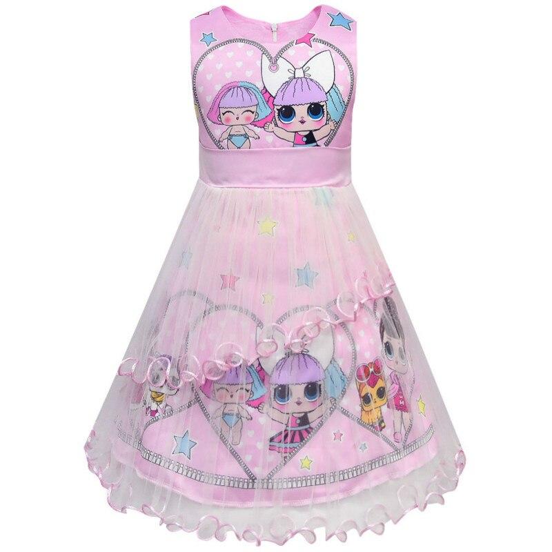 1 Set LOL Doll Clothes Toddler Kids Short Sleeve T-shirt Skirt Dress Girls Clothes Children's Doll Cartoon Print Princess Dress