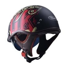 Yema 638 retro capacete da motocicleta capacete chamois forro acidente capacete preto anti-reflexo óculos acessórios scooter meio-capacete