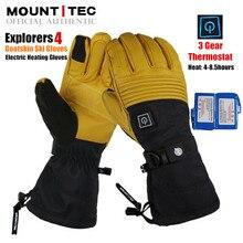MOUNTITEC Explorers 4 전기 온열 장갑 배터리 구동 자체 가열 터치 스크린 3M 방수 라이딩 염소 가죽 스키 장갑