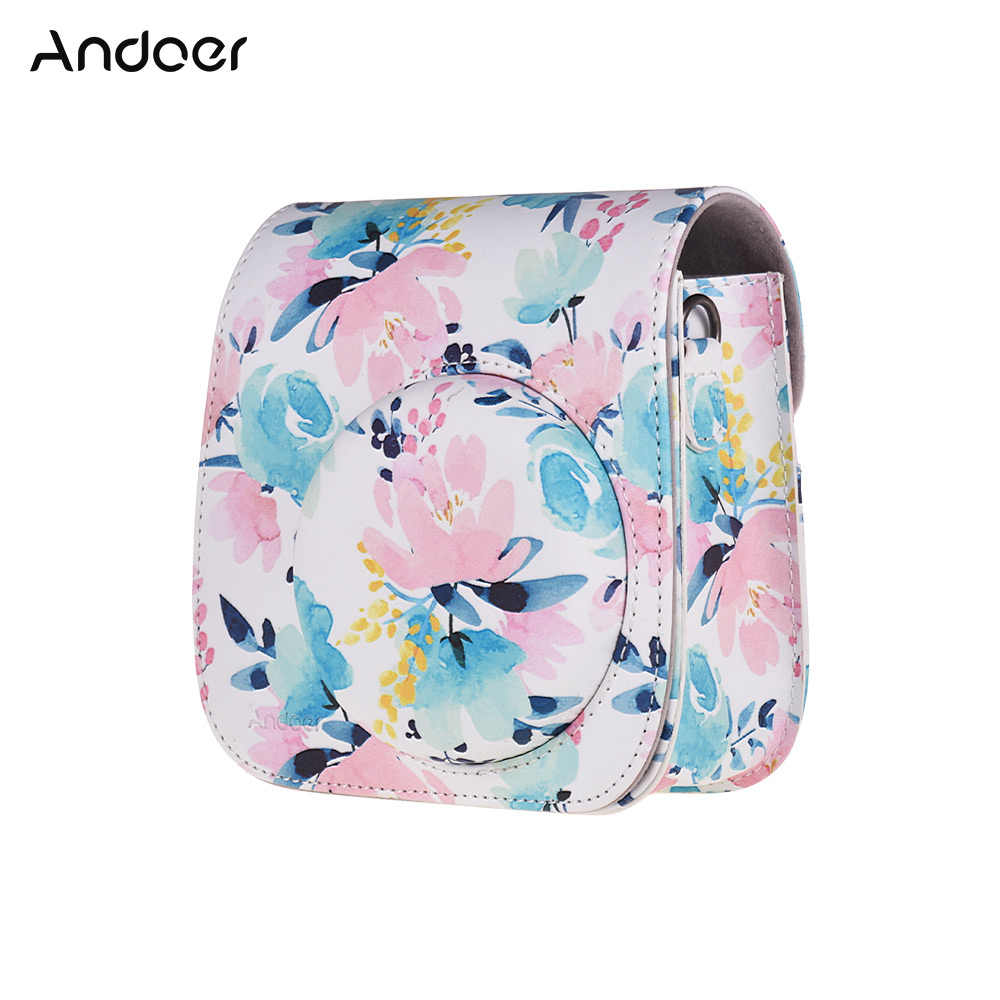 Andoer Camera Case for Fujifilm Instax Mini 8 9 Instant Film Camera Protective PU Leather Bag with Strap Accessories Pocket