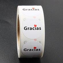 500 pces/rolo espanhol obrigado você etiquetas feitas à mão adesivo selo etiquetas obrigado você adesivo