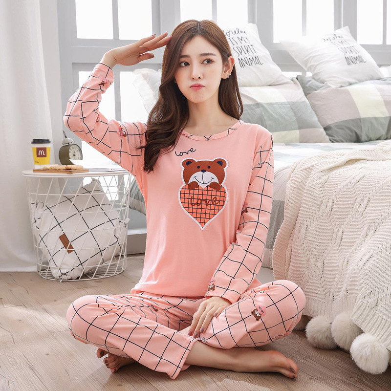New Style Korean-style Spring And Autumn Casual Cartoon Long Sleeve Pajamas Women's Qmilch Crew Neck Peach Heart Bear Homewear S