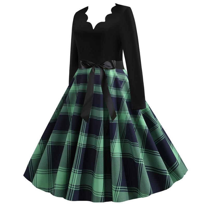 Women Long Sleeve Winter Vintage Dresses Sexy Black Music Note Print V-neck Rockabilly Pin up Party Dress Vestidos Plus size 534
