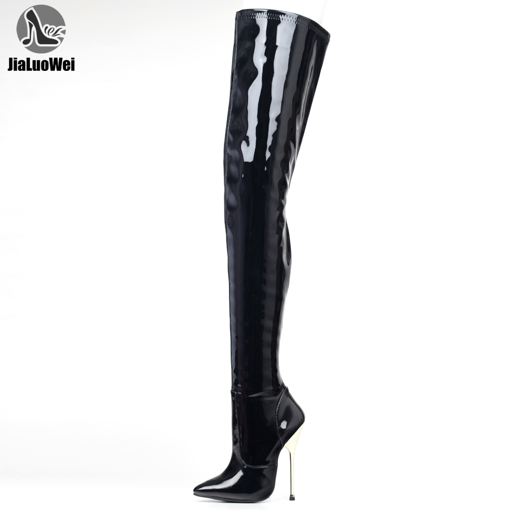 Jialuowei 36-46 tamanho grande couro do plutônio coxa botas altas 14cm salto alto apontou toe sobre o joelho botas longas em estoque transporte rápido
