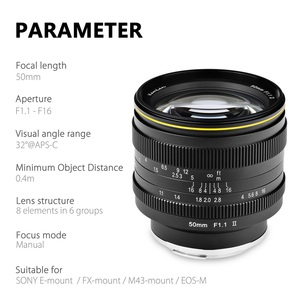 Image 2 - KamLan 50 مللي متر f1.1 II APS C عدسة كبيرة التركيز اليدوي عدسة لكاميرات عديمة المرآة عدسة الكاميرا لكانون سوني فوجي