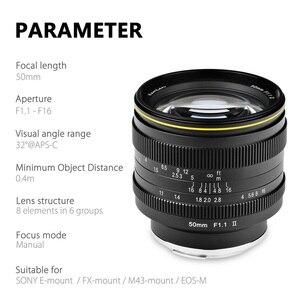 Image 2 - KamLan 50mm f1.1 II APS C Large Aperture Manual Focus Lens for Mirrorless Cameras Camera Lens for Canon Sony Fuji