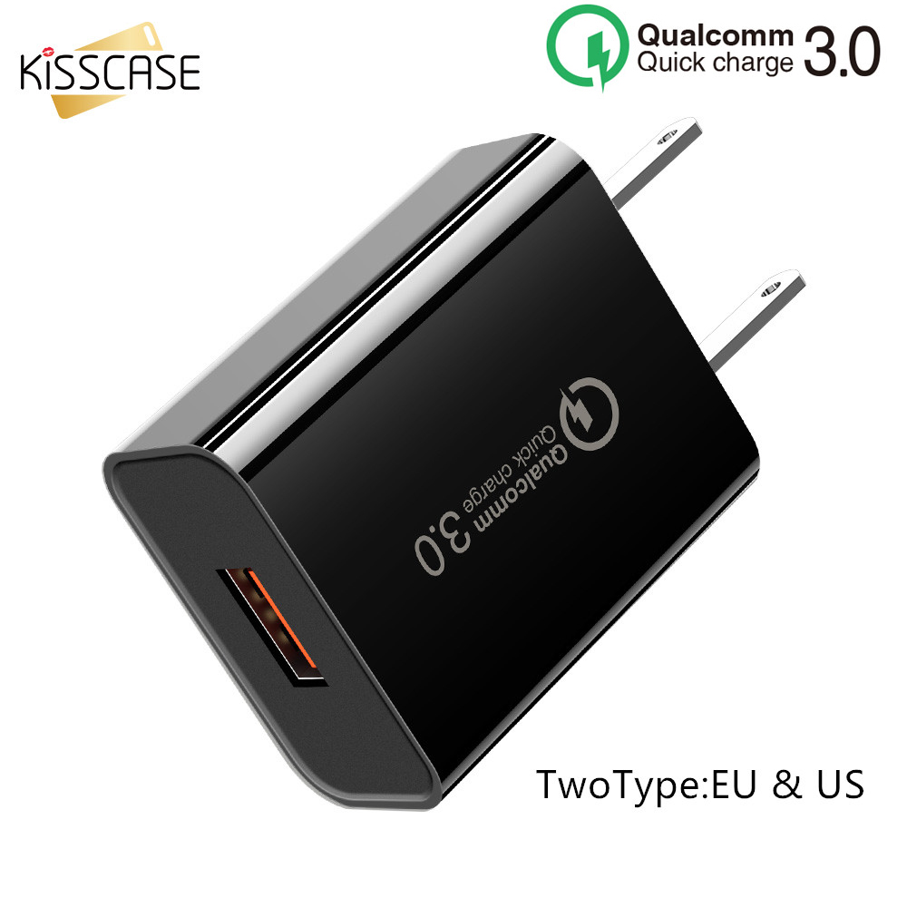 KISSCASE EU US Quick Charge Wall Plug Adapter QC 3.0 18W Cell Phone Charger For iPhone Samsung Xiaomi Huawei USB Fast Charger