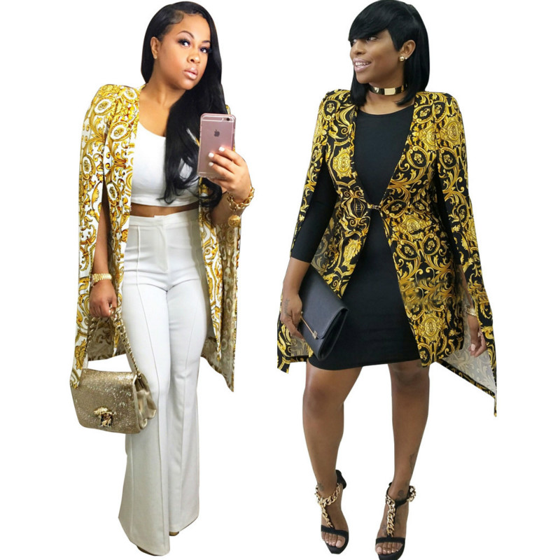 Bazin Riche African Clothes OL Ladies Clothes African Ankara Print Blazers Jacket Bat Sleeve Trench Coats Women African Clothing