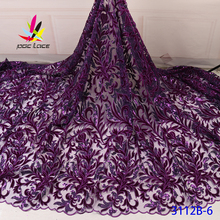 Velvet Lace Fabric For Wedding Dress Purple Sequins Sequence Embroidery Flower Elegant French African Nigerian Design 2020 purple velvet halter design flounced tube top mini dress